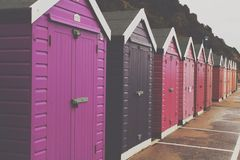 Beach Huts. Purple to red tones Stock Image