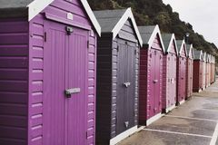 Beach Huts. Purple to red tones Stock Photography