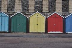 Beach Huts. Random colour beach huts Royalty Free Stock Image