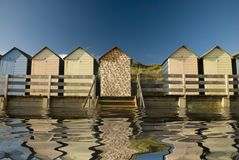 Beach huts reflected Royalty Free Stock Photo