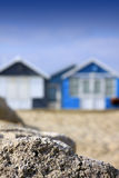 Beach Huts and Rock Royalty Free Stock Image