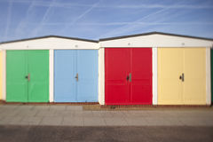 Beach huts. A row of colourful beach huts on the seafront at Exmouth, Devon, UK Stock Photos