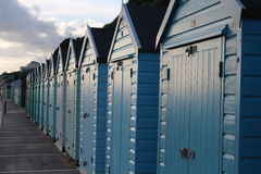 Beach Huts. A row of beach huts on the south coast of England Royalty Free Stock Image