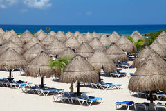 Beach huts. Rows of the palm leaf sun shades on the beach in Riviera Maya Royalty Free Stock Photo