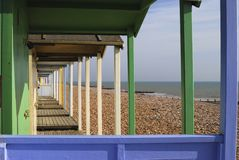 Beach huts at Rustington. Sussex. UK Royalty Free Stock Image