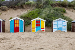 Beach huts on Saunton beach, UK Stock Photos