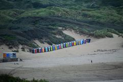 Beach Huts at Saunton Sands in Devon stock photo