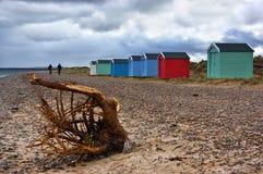 Beach Huts by the Sea Stock Photo