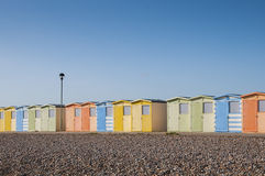 Beach Huts at Seaford, Sussex, UK. Colorful beach huts on the beach at Seaford, Sussex, UK Stock Photos