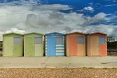 Beach huts at Seaford, UK. Image was taken on July 2012 in small town Seaford by Brighton, Sussex, England Stock Images
