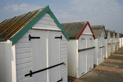 Beach huts on seafront Stock Photography