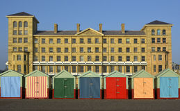 Beach huts on seafront at Brighton, England Stock Photo