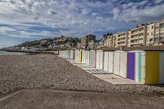 The Beach Huts On The Seafront Stock Image