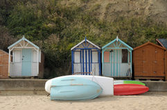 Beach huts on seafront, Swanage Stock Images