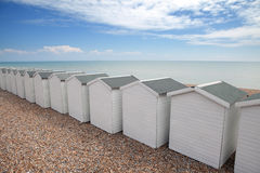 Beach huts seaside chalet england. Beach huts in seaside town bexhill on sea, east sussex England. small wood chalets on the coast Stock Photo
