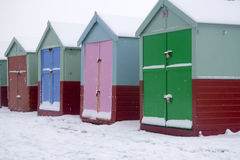 Beach huts in snow Royalty Free Stock Image