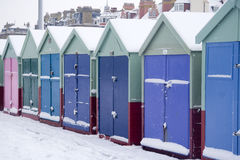 Beach huts in the snow Royalty Free Stock Photography