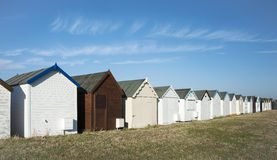 Beach huts at Southend on Sea, Essex, UK. A row of beach huts in the sand dunes at Southend on Sea, Essex, UK Stock Images