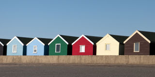 Beach Huts at Southwold, Suffolk, UK. A row of colorful beach huts at Southwold, Suffolk, UK Royalty Free Stock Photos