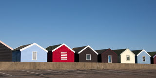 Beach Huts at Southwold, Suffolk, UK. A row of colorful beach huts at Southwold, Suffolk, UK Royalty Free Stock Images