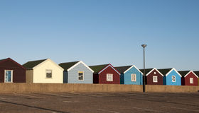 Beach Huts at Southwold, Suffolk, UK. A row of colorful beach huts at Southwold, Suffolk, UK Stock Image