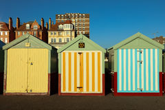Beach Huts on a sunny day in Brighton Sussex. Multi colourd Beach Huts on a sunny day in Brighton Sussex Uk, many different styles Stock Images