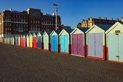 Beach Huts on a sunny day in Brighton Sussex. Multi colourd Beach Huts on a sunny day in Brighton Sussex Uk, many different styles Royalty Free Stock Image