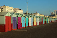 Beach Huts on a sunny day in Brighton Sussex. Multi colourd Beach Huts on a sunny day in Brighton Sussex Uk, many different styles Royalty Free Stock Photo
