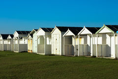 Beach Huts on a sunny day in Sussex. Uk many different styles Royalty Free Stock Photo