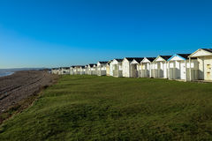 Beach Huts on a sunny day in Sussex. Uk many different styles Royalty Free Stock Image