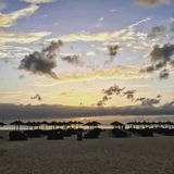 Cloudy Sunset in Cape Verde. Beach huts in sunset on sal Royalty Free Stock Photo