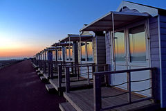 Beach huts after sunset Stock Photography