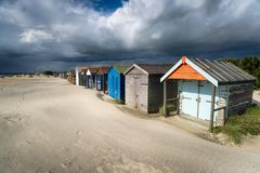 Beach Huts in Sussex Stock Photos
