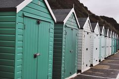 Beach Huts. Teal to light blue tones Stock Photo