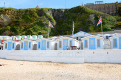 Beach huts, Tolcarne, Newquay. The colourful beach huts at Tolcarne beach in Newquay, Cornwall Stock Photo