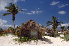 Beach huts in Tulum, Mex. Royalty Free Stock Image