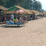 The  beach huts view of White sand sea  beach - Palolem at Goa, India. stock image