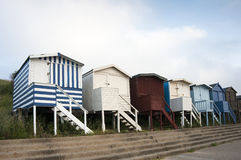 Beach Huts at Walton on the Naze, Essex, UK. A row of beach huts at Walton on the Naze, Essex, UK Royalty Free Stock Photo