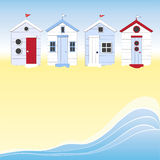 Beach huts with water. A row of beach huts against blue sky and sand and sea. Space for your text vector illustration