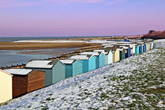 Beach huts in the winter snow Stock Image