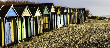 Beach Huts. On a winters day Stock Photos