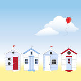 Beach Huts With Copy Space Stock Images