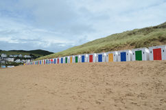 Beach huts on Woolacombe, North Devon, England Royalty Free Stock Image