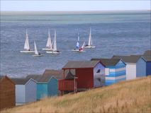 Beach huts and yacht race stock footage