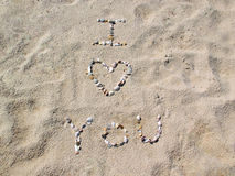Beach I Love You Stock Photos