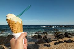Ice cream on beach holidays Royalty Free Stock Image