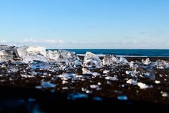 Beach and ice. Travel world nature seas mountains trees fields and beautiful photos Stock Photo