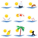 Beach icon art color vector. Beach icon summer vector on a white background Stock Photography