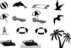 Beach icon collection. The collection of monochrome color beach icons Royalty Free Stock Image