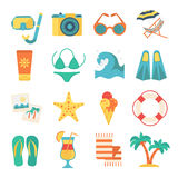 Beach Icon Flat Set. Flat set with colorful  elements of beach rest and activity vector illustration Stock Image